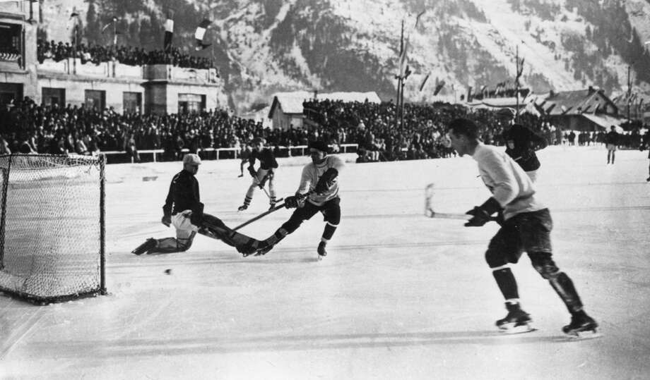 The Canadian ice hockey team, the Toronto Granites, scores during the final in which they beat the United States 6-1 to take the Olympic gold medal in the Winter Games at Chamonix, France, on Feb. 3, 1924. Photo: Hulton Archive, Getty Images / Hulton Archive