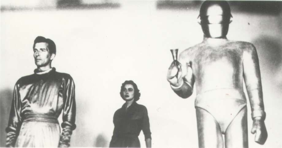 "An alien from another planet threatens to destroy the Earth if its residents can't start getting along in ""The Day the Earth Stood Still."""