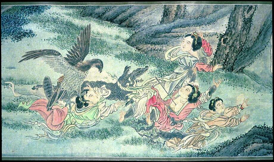 """Clearing Out the Mountain: Demons Fighting with Animals in the Forest,"" anonymous Ming dynasty scroll painting, ink and colors on paper, from about 1500, detail. Photo: Unknown"