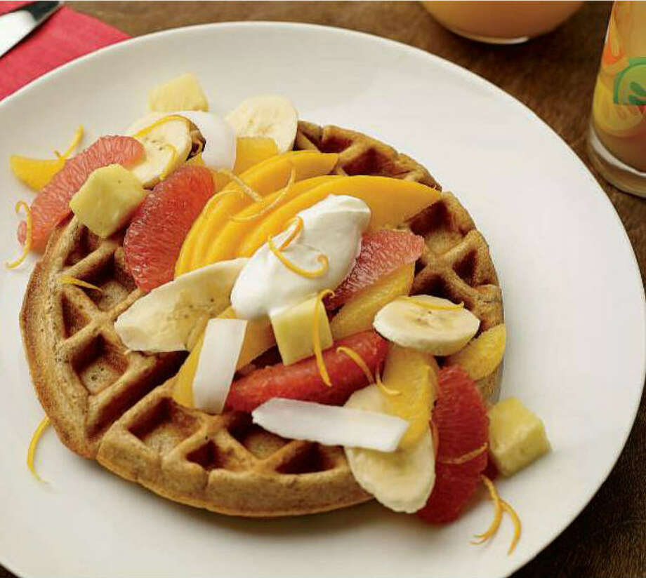 Whole Grain Waffles can be topped with fruit and yogurt.  Photo: Phil Mansfield, The Culinary Institute Of America