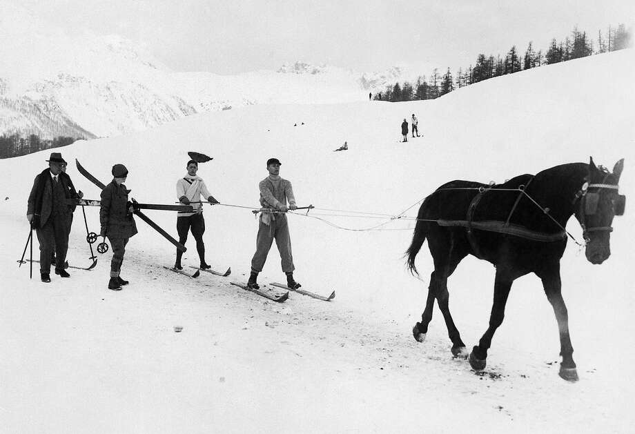 Skijoring — demonstration event in 1928This is the event where a horse pulls a guy around on skis and doesn't make for good television. Whoa, Nelly! Photo: Keystone-France, Gamma-Keystone Via Getty Images / 1930 Keystone-France