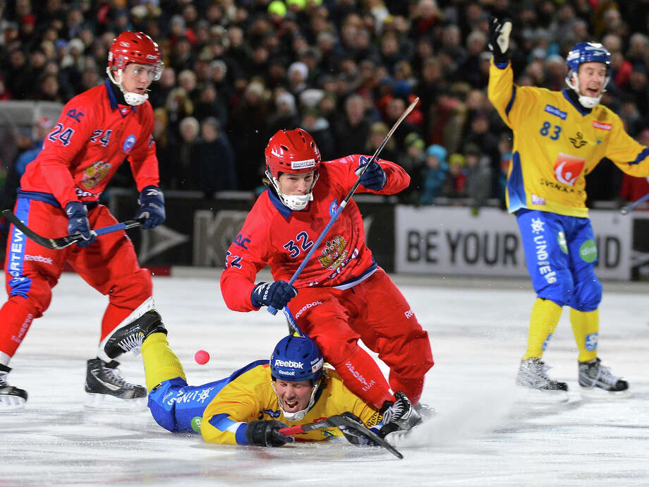 Bandy — 1952 demonstration sportIt's hockey, but with a ball — plus the boards are only a few inches high so you can't jack your opponent up against them, which makes Bandy inherently lamer. Photo: ANDERS WIKLUND, AFP/Getty Images / 2013 AFP