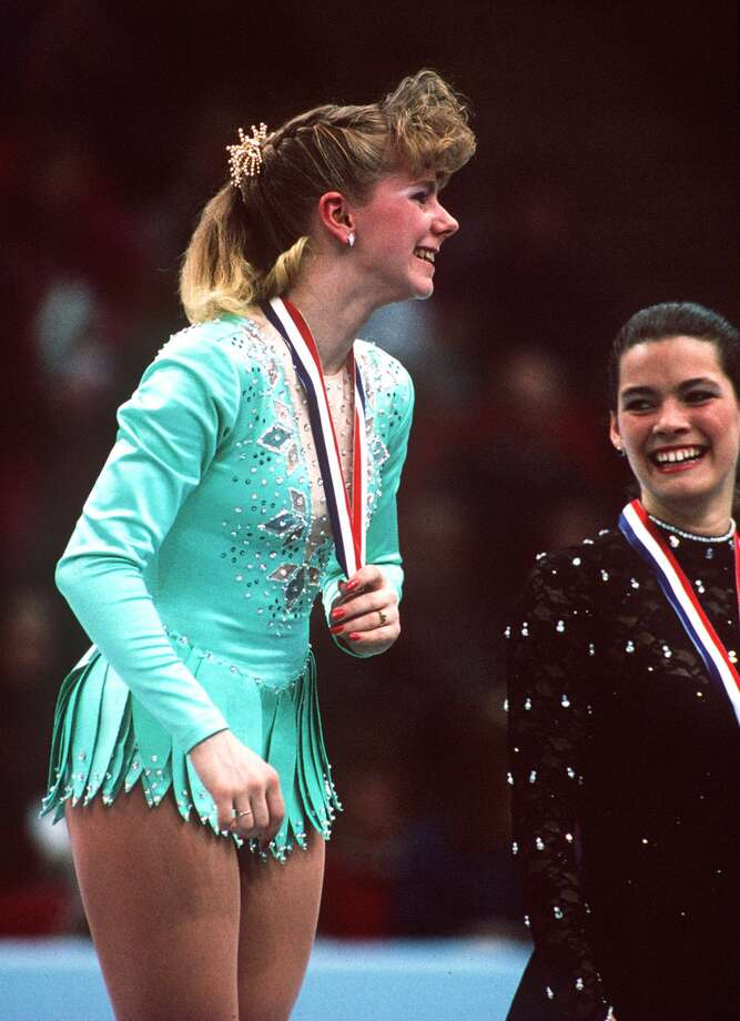 Tonya Harding's skating future once seemed bright. In 1991 she won the U.S. championships. That is Kerrigan, who finished third, on her left.  Photo: Tim DeFrisco, Getty Images / Getty Images North America