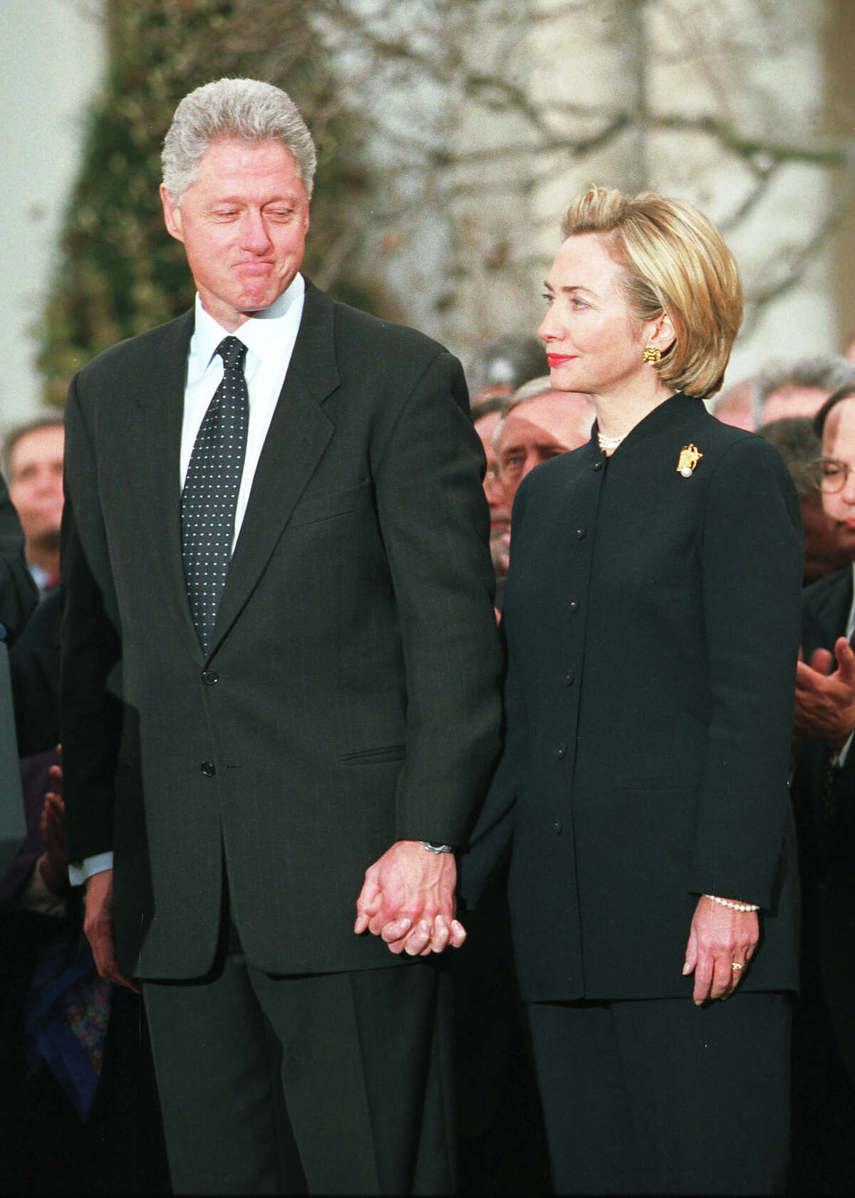 Tuesday, January 7, 2018 was the 19th anniversary of the start of the impeachment proceedings against President Bill Clinton. Here's a look back at the craziness: President Bill Clinton looks toward wife Hillary before addressing the American people following a vote for his impeachment December 19, 1998 at the White House. Clinton ignored calls for his resignation in the face of impeachment, vowing to remain in office