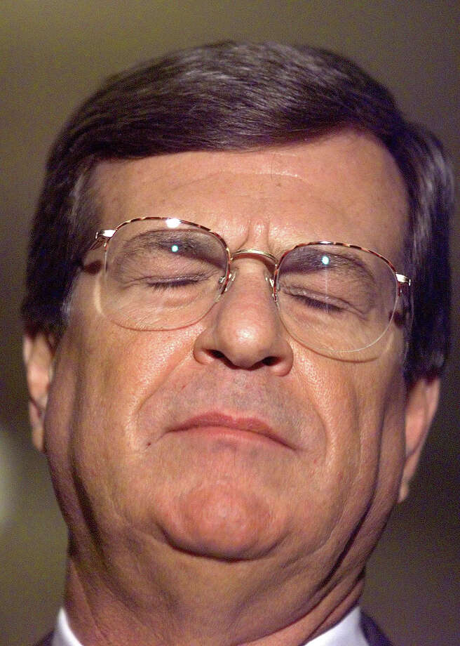 "US Sen. Trent Lott, R-MS, and majority leader, reacts when asked by the media about Sen. Tom Harkins' (D-IA) letter to Chief Justice Rehnquist to stop the questioning of Monica Lewinsky by house impeachment managers and Ken Starr shortly after the US Senate impeachment trial of US President Bill Clinton broke for the day 23 January. Meanwhile, former White House intern Lewinsky was called to return to Washington by a US federal court judge after he ordered her to talk to US House of Representatives ""managers"" prosecuting Clinton. Photo: TIM SLOAN, AFP/Getty Images / AFP"