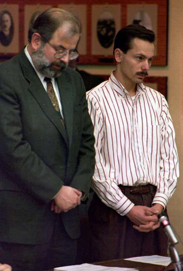 But in addition to photos from the rink, there were photos of court proceedings. Here, Jeff Gillooly (R) attends his arraignment on Jan. 19, 1994, for his alleged involvement in the attack on Kerrigan. Gillooly was Harding's ex-husband. Photo: EUGENE GARCIA, Getty Images / AFP