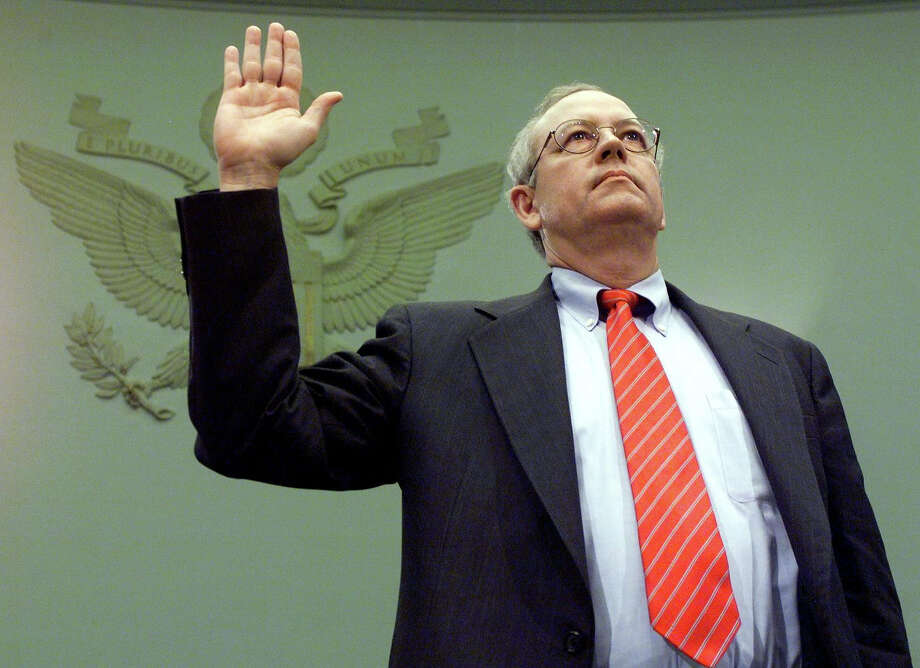 "Independent counsel Kenneth Starr is sworn in to testify before the House Judiciary Committee impeachment inquiry 19 November on Capitol Hill in Washington, DC. Starr is expected to  testify that US President Bill Clinton misused ""the machinery of government"" to illegally interfere with the Paula Jones sexual harassment lawsuit and Starr's investigation into President Clinton's relationship with former White House intern Monica Lewinsky. Photo: LUKE FRAZZA, AFP/Getty Images / AFP"