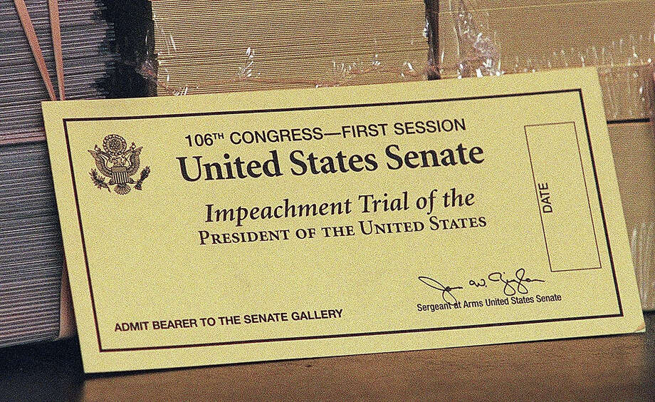 An official ticket to watch the impeachment trial of US President Bill Clinton. Out of a total of 596 tickets only 50 are available to the public. Photo: WILLIAM PHILPOTT, AFP/Getty Images / AFP