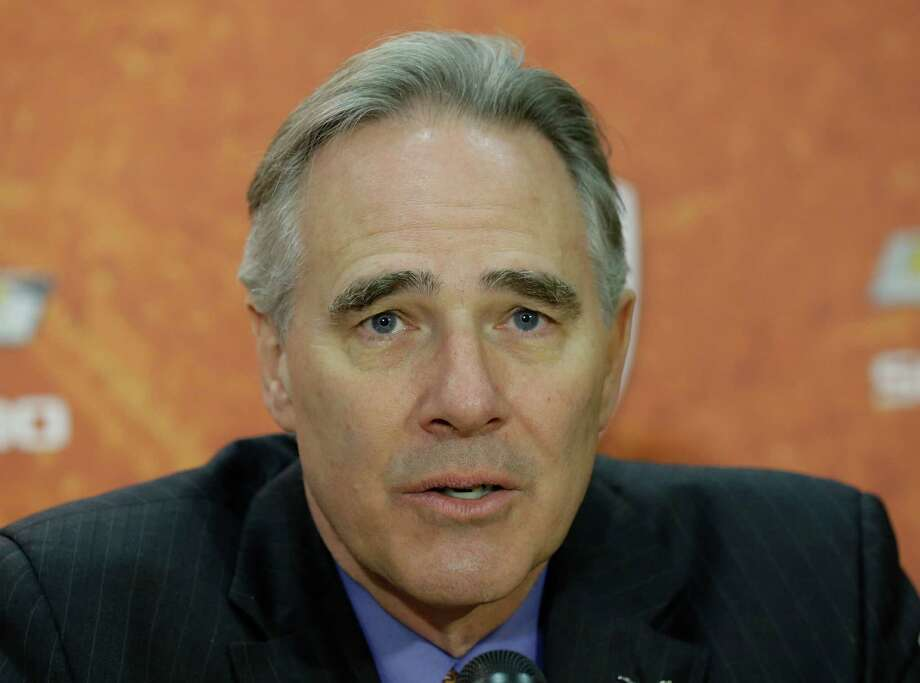 Texas athletic director Steve Patterson during a news conference where Charlie Strong was introduce at the new Texas football coach,Monday,  Jan. 6, 2014, in Austin, Texas. (AP Photo/Eric Gay) Photo: Eric Gay, Associated Press / AP