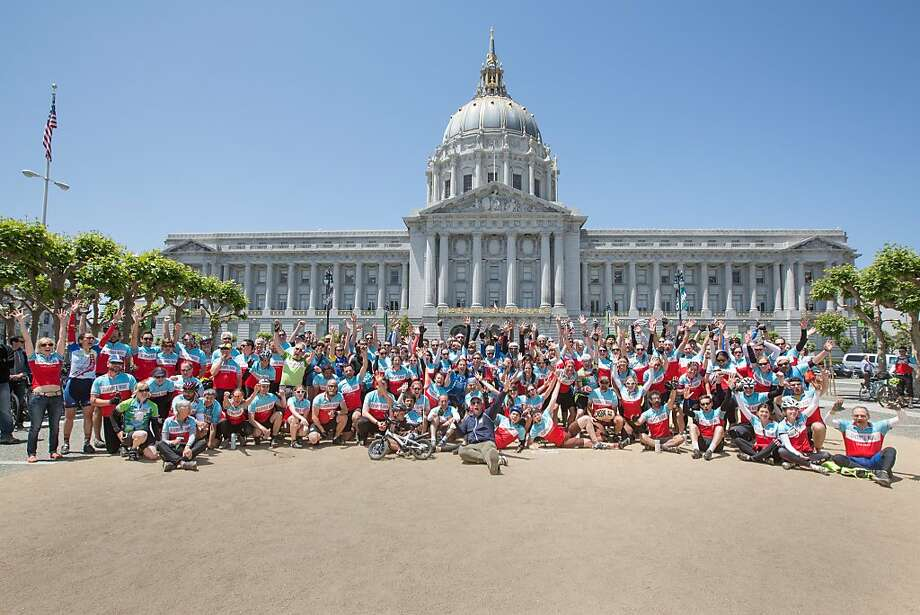 Riders gather at San Francisco City Hall after the 2013 California Climate Ride. This May's event will end at the state Capitol. Photo: Tom Robertson