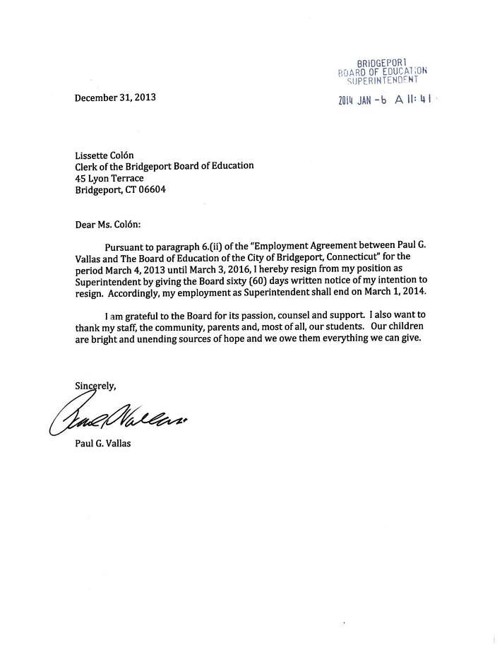 Paul Vallas' letter of resignation from the position of Superintendent of Schools in Bridgeport, Conn. dated Dec. 31, 2013. Photo: Contributed Photo / Connecticut Post Contributed