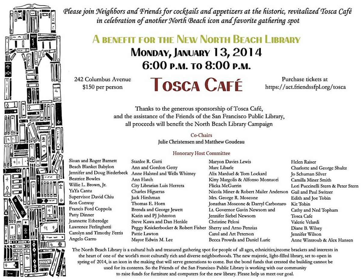 Jan. 13 cocktail event at Tosca will benefit the new North Beach Library.