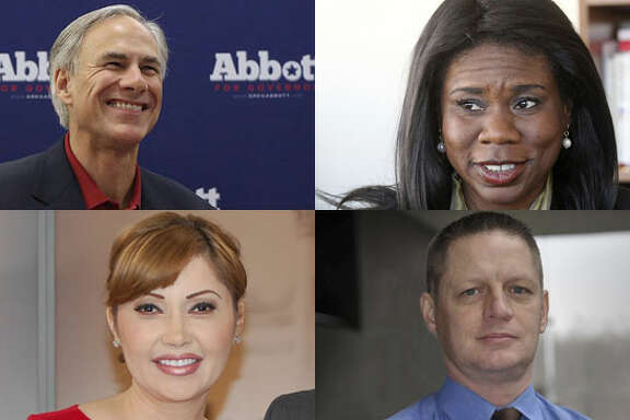 Waging bids against Attorney General Greg Abbott are conservative commentator and author Lisa Fritsch (upper left), former Univision broadcaster Miriam Martinez and Larry SECEDE Kilgore, who will be simply SECEDE Kilgore on the ballot.