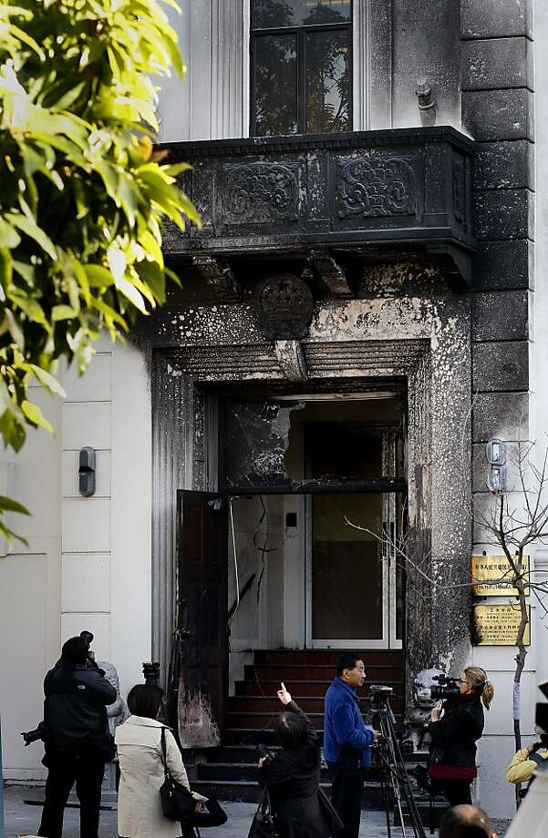 The fire spread from the front entrance to a balcony above but no one was injured in San Francisco, Calif. Unidentified persons splashed gasoline on the main entrance to the Chinese consulate on Geary and Laguna Streets and set it ablaze causing damage to the door and exterior. Photo: Brant Ward, The Chronicle