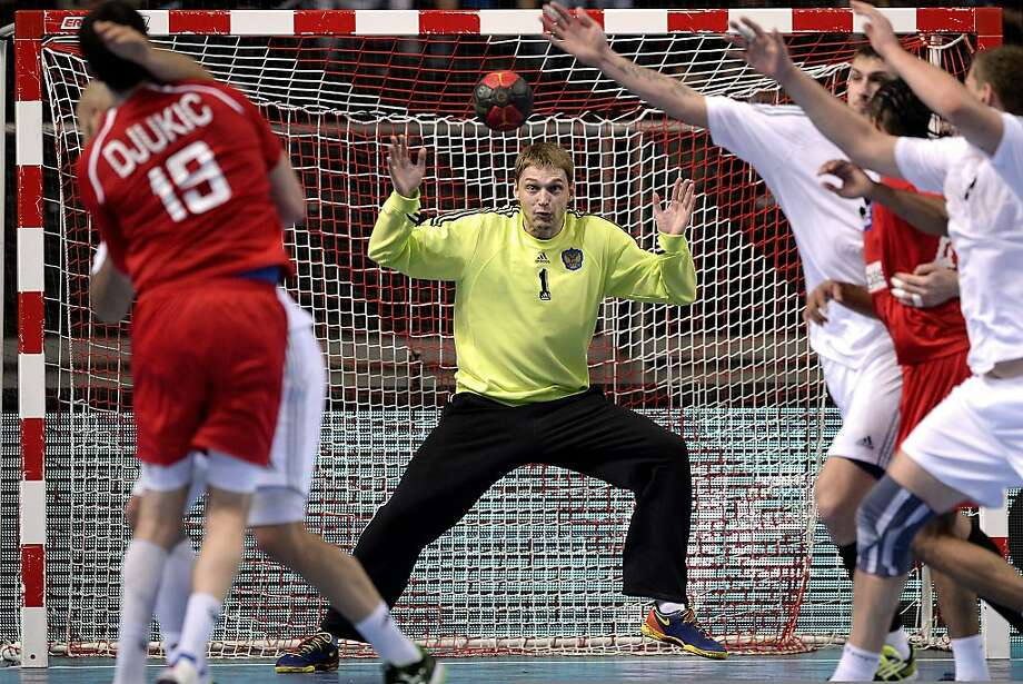 I got it! Goalkeeper Nikolay Sorokin of Russia makes a save during the DHB Four Nations Tournament team handball match 