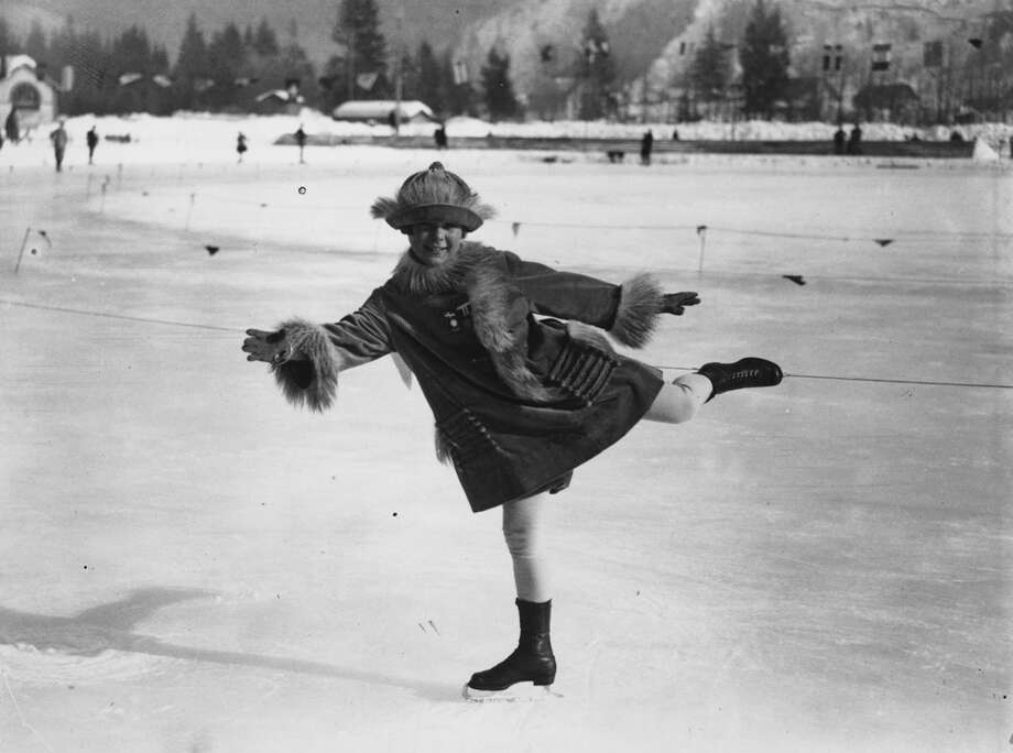 Norwegian figure skater Sonja Henie, 11, practices during the Winter Olympics in Chamonix, France, in 1924. Photo: Central Press, Getty Images / Hulton Archive