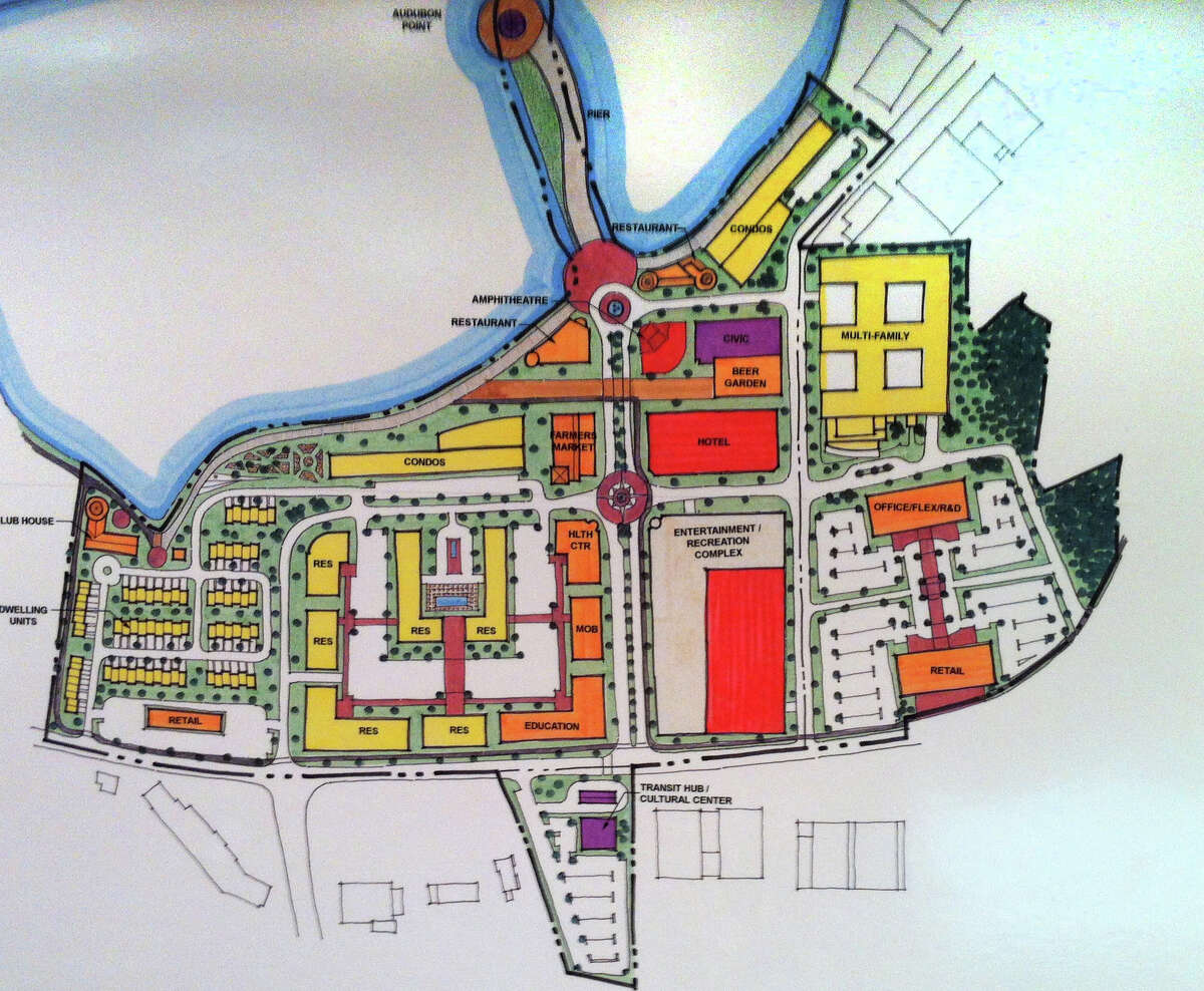 This is what the long-shuttered Stratford Army Engine Plant could like, developers say. In this plan, north is to the left and east is up. Red in for entertainment and retail use, yellow is residential, orange is office/restaurant, gray is parking, green is open space and purple is for civic use. The huge plant is on Main Street in the South End of town.