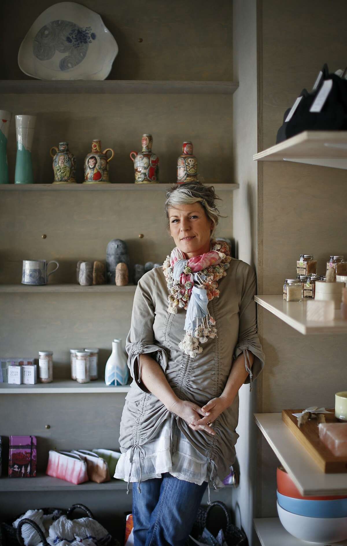 Artist Linda Fahey is seen in her shop, Yonder Shop, in Pacifica, Calif., on Monday, Dec. 16, 2013.