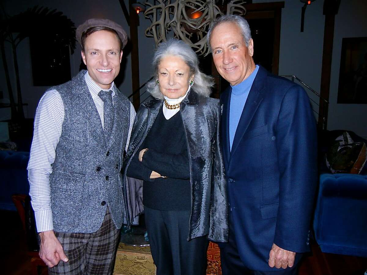 Designer Ken Fulk (left) with Denise Hale and KQED CEO John Boland at Fulk's loft for a Downton Abbey party. Jan 2014. By Catherine Bigelow