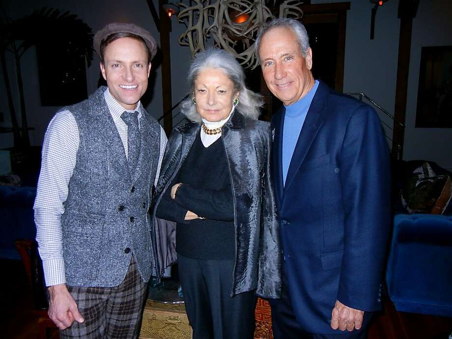 "Designer Ken Fulk (left) with Denise Hale and KQED CEO John Boland at Fulk's loft for a ""Downton Abbey"" season four premiere viewing party. Photo: Catherine Bigelow, Special To The Chronicle"