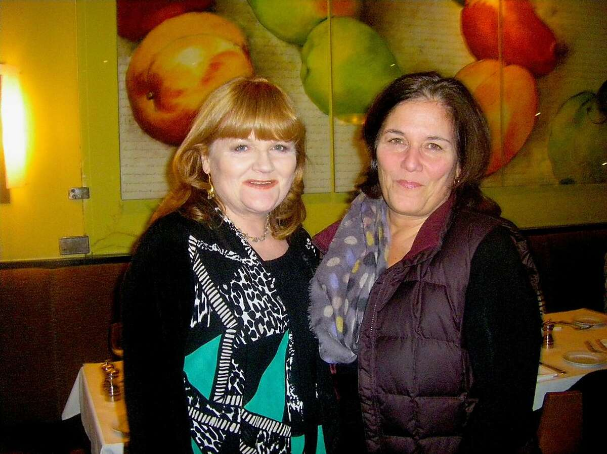 """Actor Lesley Nicol (left) with Insalata chef-owner Heidi Krahling, who recently cooked dinner for the """"Downton Abbey"""" cook. Jan 2014. By Beth Casey."""