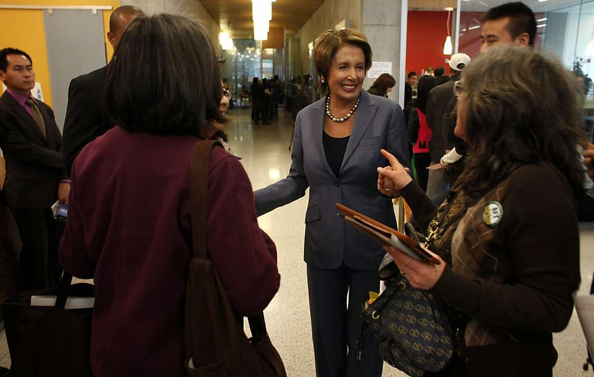 Congresswomen Nancy Pelosi greets students and faculty of the City College of an San Francisco, Monday January 6, 2014, at the Chinatown College Campus in San Francisco, Calif. Earlier she addressed members of the faculty, city officials, students and press showing her support of keeping City College strong.