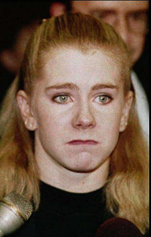 Disgraced figure skater Tonya Harding skated her way into 49 jokes by Jay Leno. Photo: Brent Wojahn, Associated Press