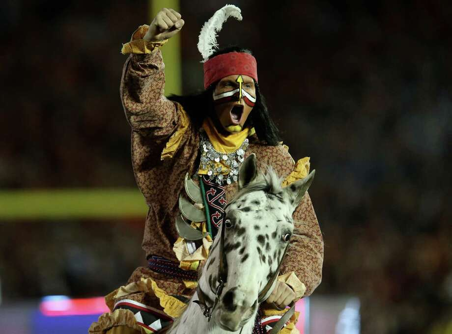 PASADENA, CA - JANUARY 06:  Florida State Seminoles mascots Renegade and Osceola perform prior to the 2014 Vizio BCS National Championship Game against the Auburn Tigers at the Rose Bowl on January 6, 2014 in Pasadena, California. Photo: Stephen Dunn, Getty Images / 2014 Getty Images