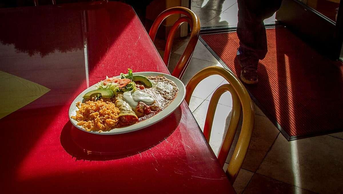 The Enchiladas de Pollo at Gallardos Mexican restaurant in San Francisco, Calif., is seen on January 3rd, 2014.