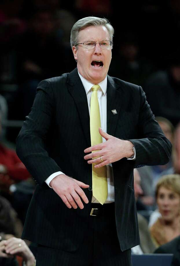 Iowa head coach Fran McCaffery calls out to his team during the first half of an NIT semifinal basketball game against Maryland Tuesday, April 2, 2013, in New York. (AP Photo/Frank Franklin) Photo: Frank Franklin / AP