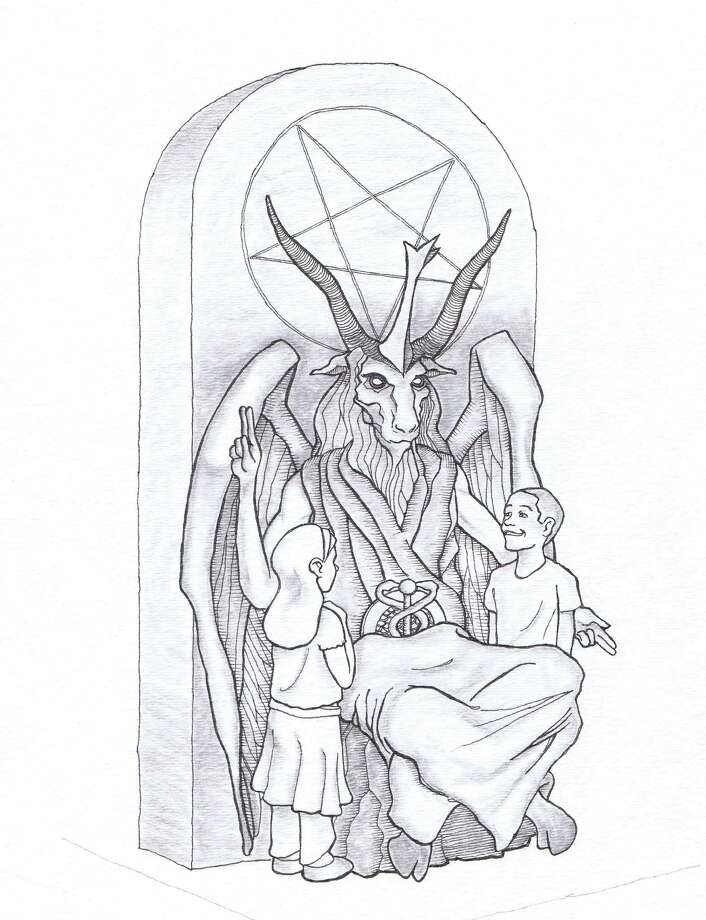 This artist's rendering provided by the Satanic Temple shows a proposed monument that the New York-based Satanic group wants to place at the Oklahoma state Capitol. The statue features a bearded, goat-headed demon sitting in a pentagram-adorned throne with children next to it. (AP Photo/Satanic Temple) ORG XMIT: OKSO203 / Satanic Temple