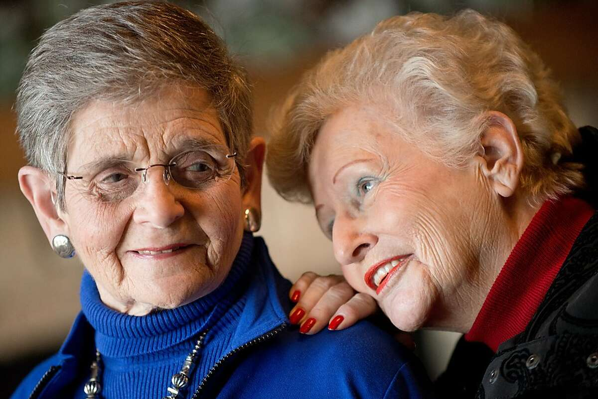 Matile Rothschild, left, and Joan Zimmerman share a moment with each other at the Fountaingrove Lodge, the country's first LGBT retirement community, where they reside in Santa Rosa, Calif., on December 30, 2013.