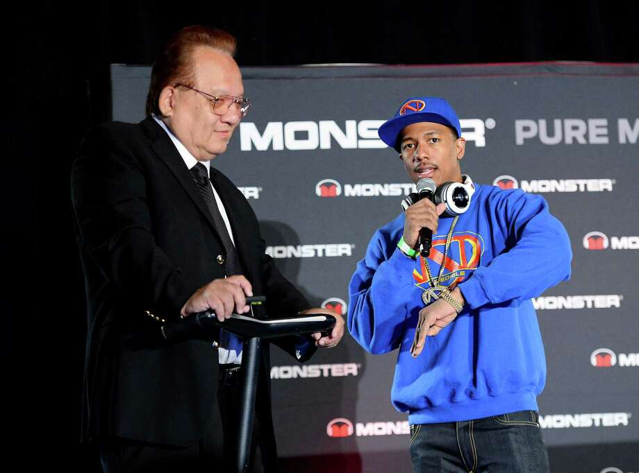 """Monster founder and CEO Noel Lee, left, and actor-rapper Nick Cannon on Monday discuss two Monster TV series that Cannon will co-produce.  One will be about DJs.  """"Kids don't want a guitar anymore, they want DJ equipment,"""" Cannon said.  Photo: Ethan Miller, Staff / 2014 Getty Images"""
