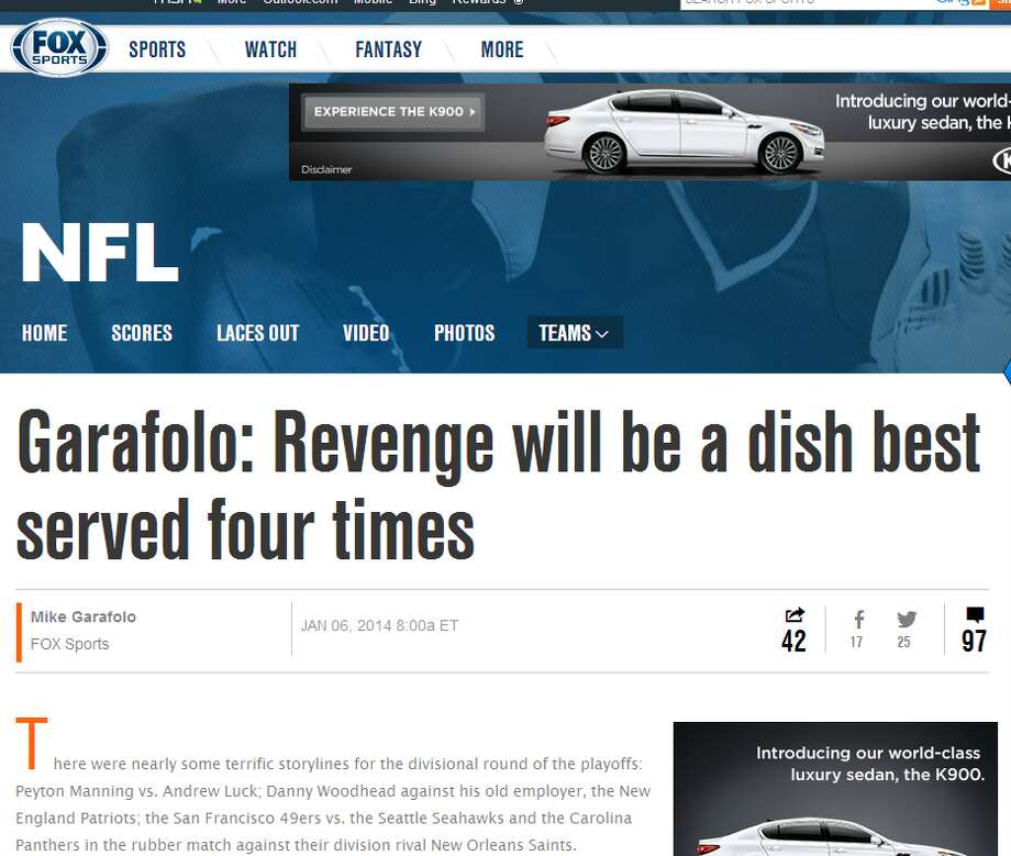 """Fox Sports' Mike GarafoloWith three of this weekend's four games being repeats of  matchups from earlier this season, revenge is the theme of Mike Garafolo's divisional playoffs preview. For the Saints, it's a chance to redeem themselves after a dreadful performance in Week 13 at CenturyLink Field. """"It was embarrassing, humbling. It was all of the above, I guess you could say,"""" Garafolo quoted Saints tight end Jimmy Graham as saying. """"I certainly won't ever forget that moment. And now we have a great opportunity to prove ourselves against one of the best teams in the NFL."""" Photo: Screenshot, FoxSports.com"""