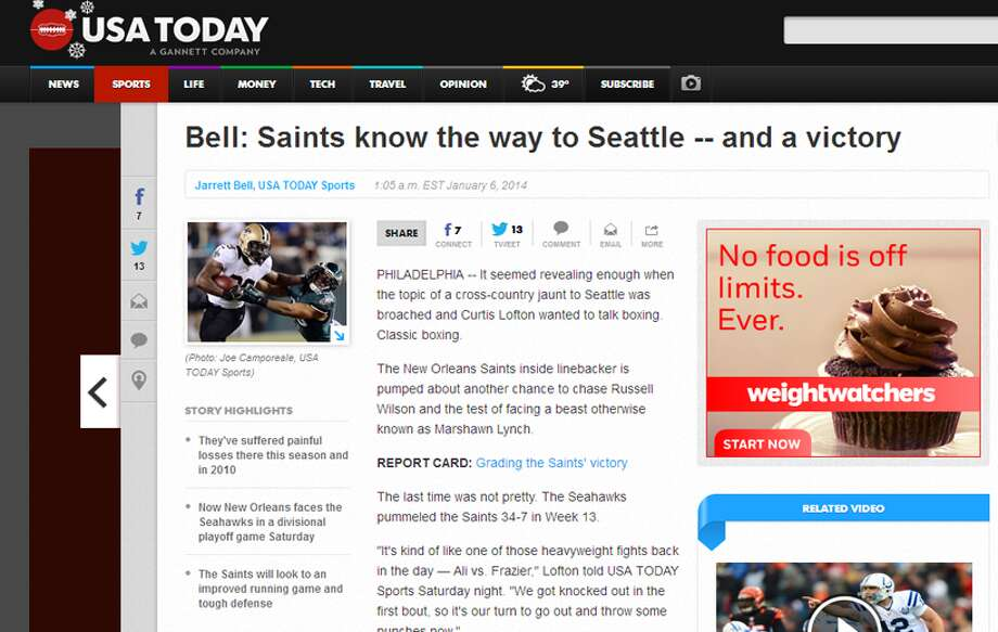 "USA Today  Jarrett Bell echoed Vacchiano in his column for USA Today, trumpeting the importance of the Saints' running game in their return visit to the Pacific Northwest. Bell reminded readers that Brees was excellent the last time the Saints played the Hawks in the playoffs, but that didn't mean a win for his Saints. ""What they must have is a team effort,"" Bell wrote. ""In the 41-36 playoff loss at Seattle following the 2010 season, Brees passed for 404 yards without an interception. And the Saints still lost. With an injury-depleted backfield, they rushed for 77 yards."" Photo: Screenshot, USAToday.com"