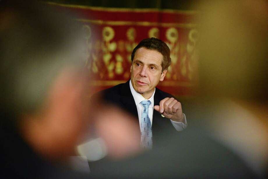 Gov. Andrew Cuomo outlines his tax reduction plan during a press conference Monday morning, Jan. 6, 2014, at the Capitol in Albany, N.Y. (Will Waldron/Times Union) Photo: WW
