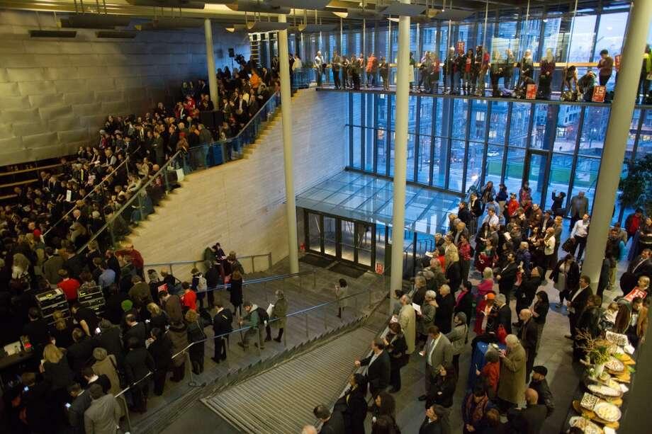 Spectators watch the swearing-in ceremony on Monday, January 6, 2014 at Seattle City Hall. Photo: JOSHUA TRUJILLO, SEATTLEPI.COM