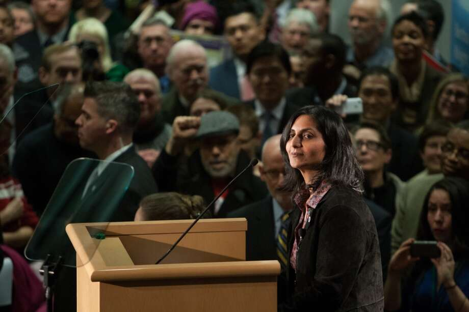 New Seattle City Councilmember Kshama Sawant speaks after being sworn-in on Monday, January 6, 2014 at Seattle City Hall. Photo: JOSHUA TRUJILLO, SEATTLEPI.COM