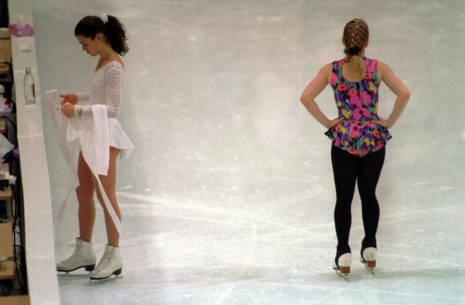 It made normal look strange when Nancy Kerrigan and Tonya Harding shared the ice during the 2004 Olympics, as they did here on Feb. 17, 1994. Photo: Pascal Rondeau, Getty Images / Getty Images Europe