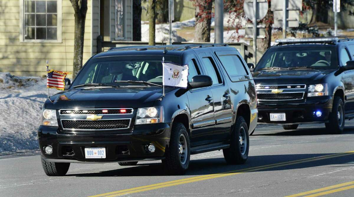 A motorcade brings Vice President Joe Biden to Albany to visit with Gov. Andrew Cuomo Tuesday Jan. 7, 2014, in Colonie, N.Y. Biden and Cuomo spoke about New York?s rebuilding effort in the wake of 2012?s Superstorm Sandy, which caused billions of dollars worth of damage downstate. (John Carl D'Annibale / Times Union)