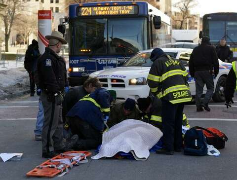 Man recovering after being hit by bus - Times Union