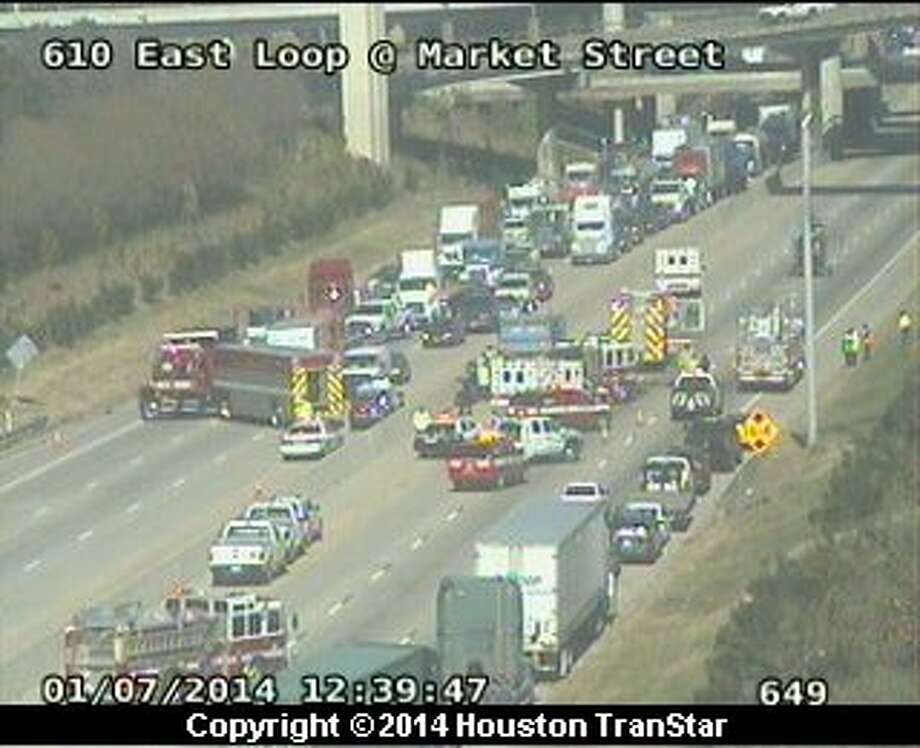Portions of the East Loop near the East Freeway were blocked after a crash about noon Monday. Photo: Houston Transtar