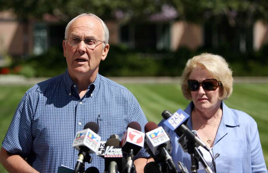 """U.S. Sen. Larry Craig will forever be known as the man with a """"wide stance"""" after he pleaded guilty to misdemeanor charges stemming from complaints of lewd conduct in a men's bathroom. His wife Suzanne stood by his side throughout the scandal. Photo: Joe Jaszewski, MCT"""
