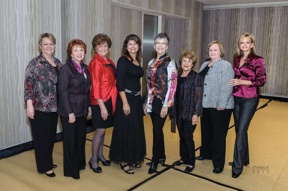 Association of Business and Professional Women leaders, from left, Jan Laman, Sharon Maaz, Dorothy Gibbons, Renu Bonner, Patricia Donham, Mary Fryday, Amy Castro and Katy Viscariello meet at a Christmas breakfast. Photo: Provided By Association Of Business And Professional Women
