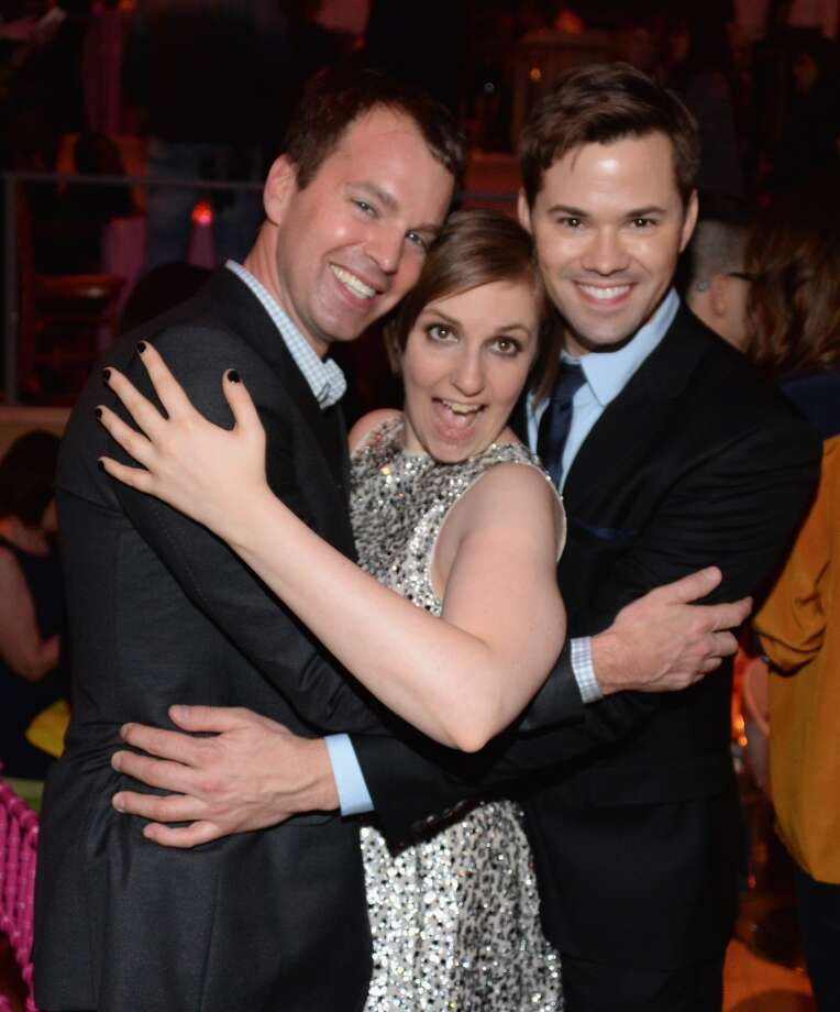 "(L-R) HBO EVP Casey Bloys, Lena Dunham and Andrew Rannells attend the ""Girls"" Season Three premiere after party at Jazz at Lincoln Center on January 6, 2014 in New York City. Photo: Andrew H. Walker, Getty Images"
