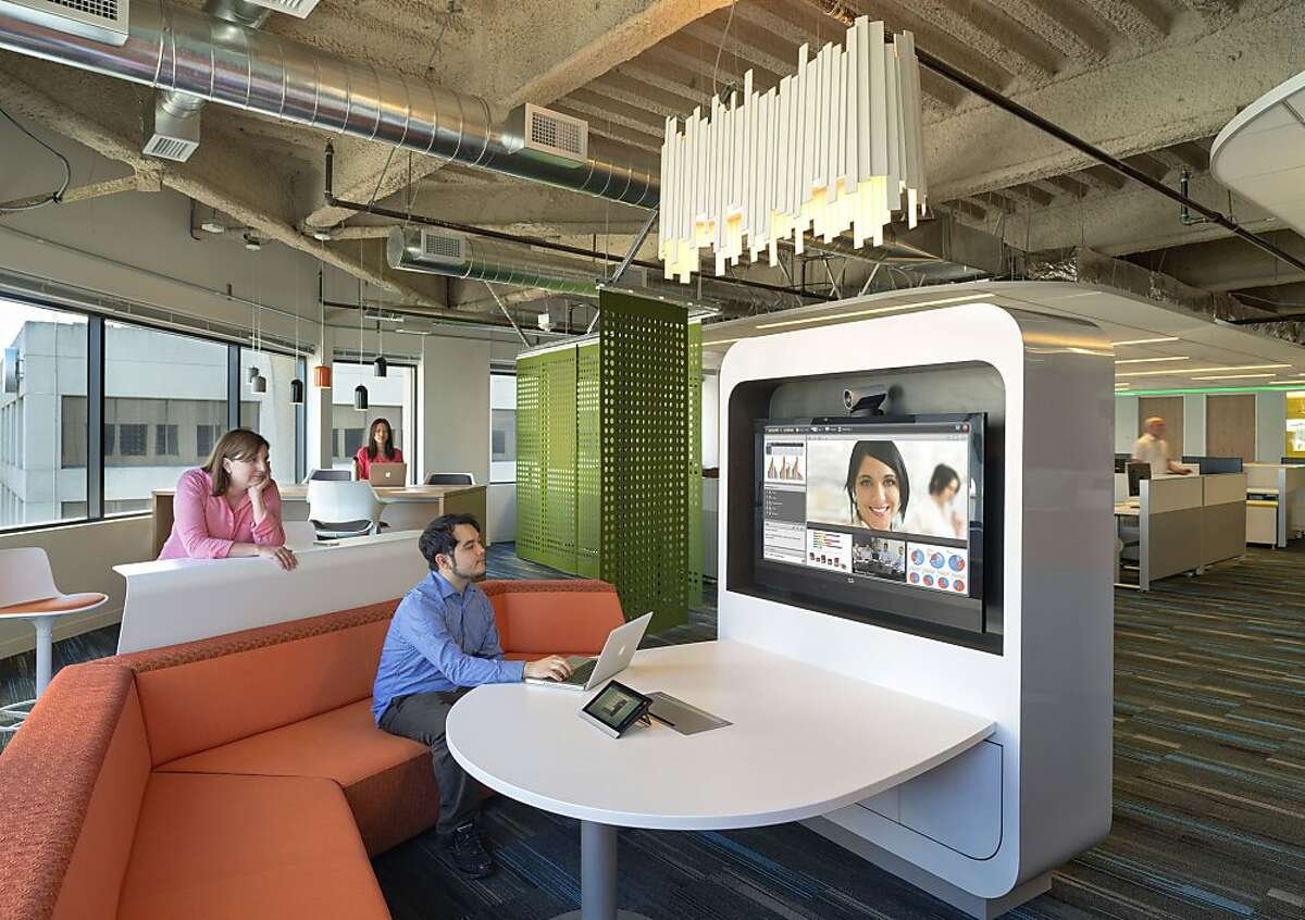A kiosk is part of the redesigned Kaiser office in Oakland.