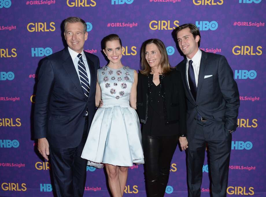"(L-R) News anchor Brian Williams, actress Allison Williams, and Jane Stoddard Williams attends the ""Girls"" season three premiere at Jazz at Lincoln Center on January 6, 2014 in New York City. Photo: Andrew H. Walker, Getty Images"