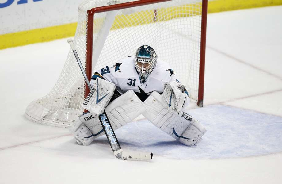 San Jose Sharks goalie Antti Niemi, of Finland,  looks on during the second period of an NHL hockey game against the Anaheim Ducks. Photo: Jae C. Hong, Associated Press