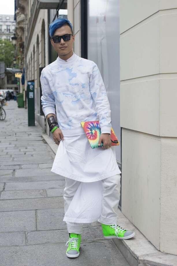 Resolution: Brighten your look with a trendy neon trainer. Sneakers are the statement shoe for men this spring. Have fun with a kick of neon on your kicks (like DJ Peter Xu in Marc Jacobs shoes in Paris in 2013, pictured.) Wear confidently with jeans, a blazer or your favorite jock-inspired look. Photo: Kirstin Sinclair, FilmMagic