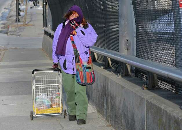 Debbie Bauer of Albany walks up Henry Johnson Blvd with some groceries on a brutally cold day Tuesday, Jan. 7, 2014, in Albany, N.Y. (Lori Van Buren / Times Union) Photo: Lori Van Buren / 00025268A